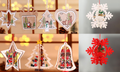Wooden Christmas Tree Ornaments Laser Hollow Christmas Tree Pendants Wooden Heart Shape Gift Case and Multi-Pointed Star Xmas Ornaments Xmas Gifts (9 Ornaments)