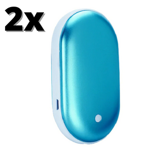 2x Blue Best Rechargeable Hand Warmers Portable Electric Power Bank Large 5200 mAh