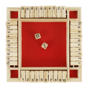 Red 10 Number Shut The Box Dice Game 4 Sided Large Game Wooden Board Dice
