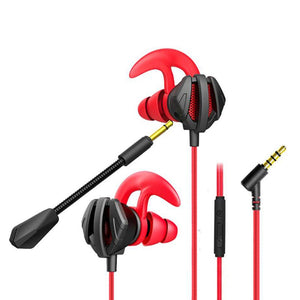 Red 1.2m Wired Earphone Gaming Earbuds With Mic Noise Cancelling