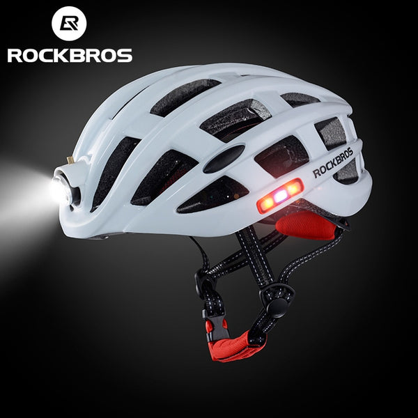 White bicycle helmets with lights