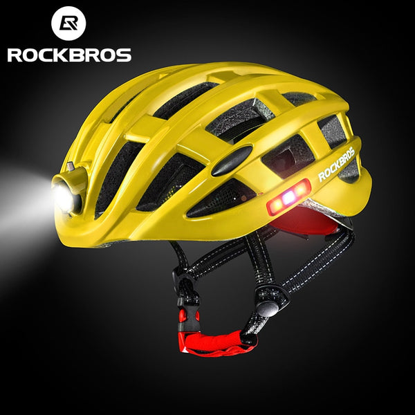 Yellow bicycle helmets with lights