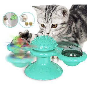 Windmill Cat Toy with Led Ball and Catnip Ball Cat Teasing Interactive