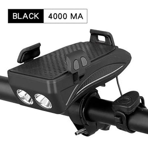 Black Bike Phone Holder Light for Bike Horn Bike Headlamps 4 in 1
