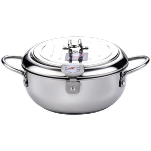 Deep Fryer Pot Stainless Steel Tempura Deep Frying Pan Thermometer