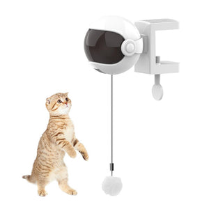 White Electric Motion Cat Toys Cat Teaser Ball Toys Automatic Lifting Spring