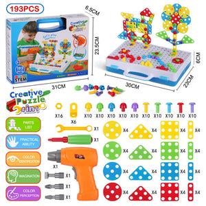 STEM Learning Toys Electric DIY Drill Educational Set Mosaic Puzzle