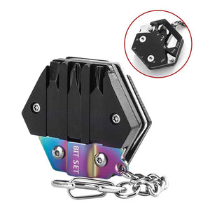 Multitool Card Key Chain Hexagonal Kit with Micro Screw Driver Set