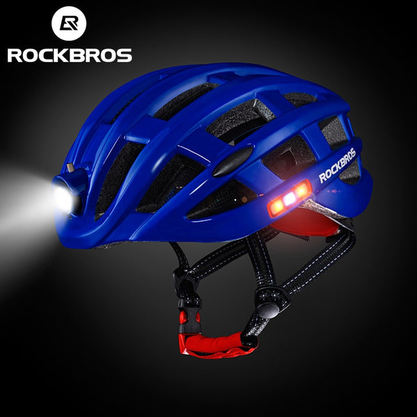 Blue bicycle helmets with lights