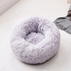gray round pet beds