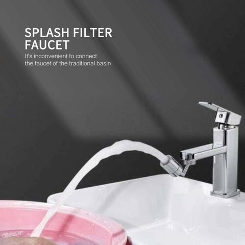 Universal Splash Faucet Filter Faucet Water Filters Nozzle 720°rotatable Water Universal Splash Filter Faucet Anti-Splash, Oxygen-Enriched Foam, Four-Layer Mesh Filter, Leak-Proof with Double O-Ring