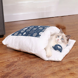 Cat Sleeping Bed Winter Removable Anti-Slip Warm Pet Cave with Zipper