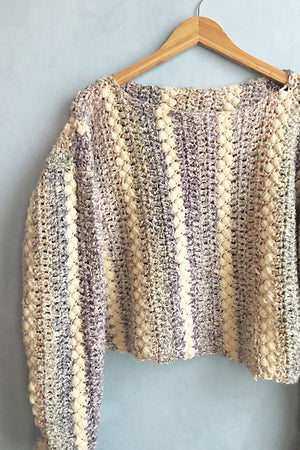 Handwoven Vintage Boucle Crop Sweater