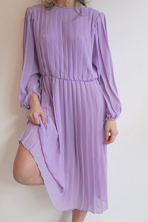 Lavender Vintage Pleated Dress