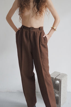 Chocolate Linen Trousers