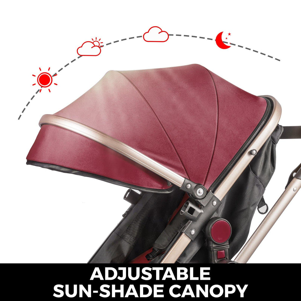 Red Baby Stroller Foldable Pram Car Seat - Until Times Up