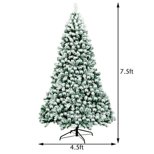 7.5Ft Pre-Lit Premium Snow Flocked Hinged Artificial Christmas Tree With 550 Lights - Until Times Up