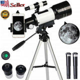 Professional Astronomical 150x Magnification Refracting Telescope 300/70mm With Tripod Phone Adapter - Until Times Up
