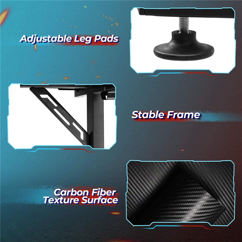 Carbon Fiber Gaming Desk With Cable Management and Headphone Hook - Until Times Up