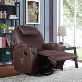 Heated Massage Recliner Pu Leather With 360 Swivel - Until Times Up