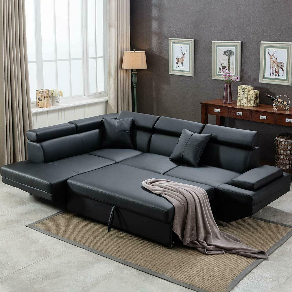 Contemporary Sectional Modern Sofa Bed - Black with Functional Armrest / Back L - Until Times Up