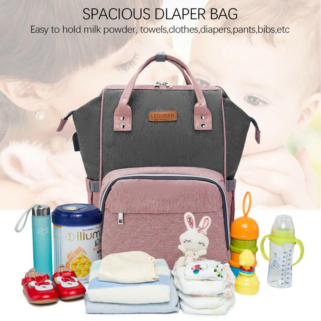 USB Baby Diaper Bag With Feeding Bottle Bag - Until Times Up