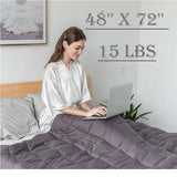 "15 lbs Breathable Weighted Blanket 48 x 72"" Reduce Stress Promote Sleep - Until Times Up"
