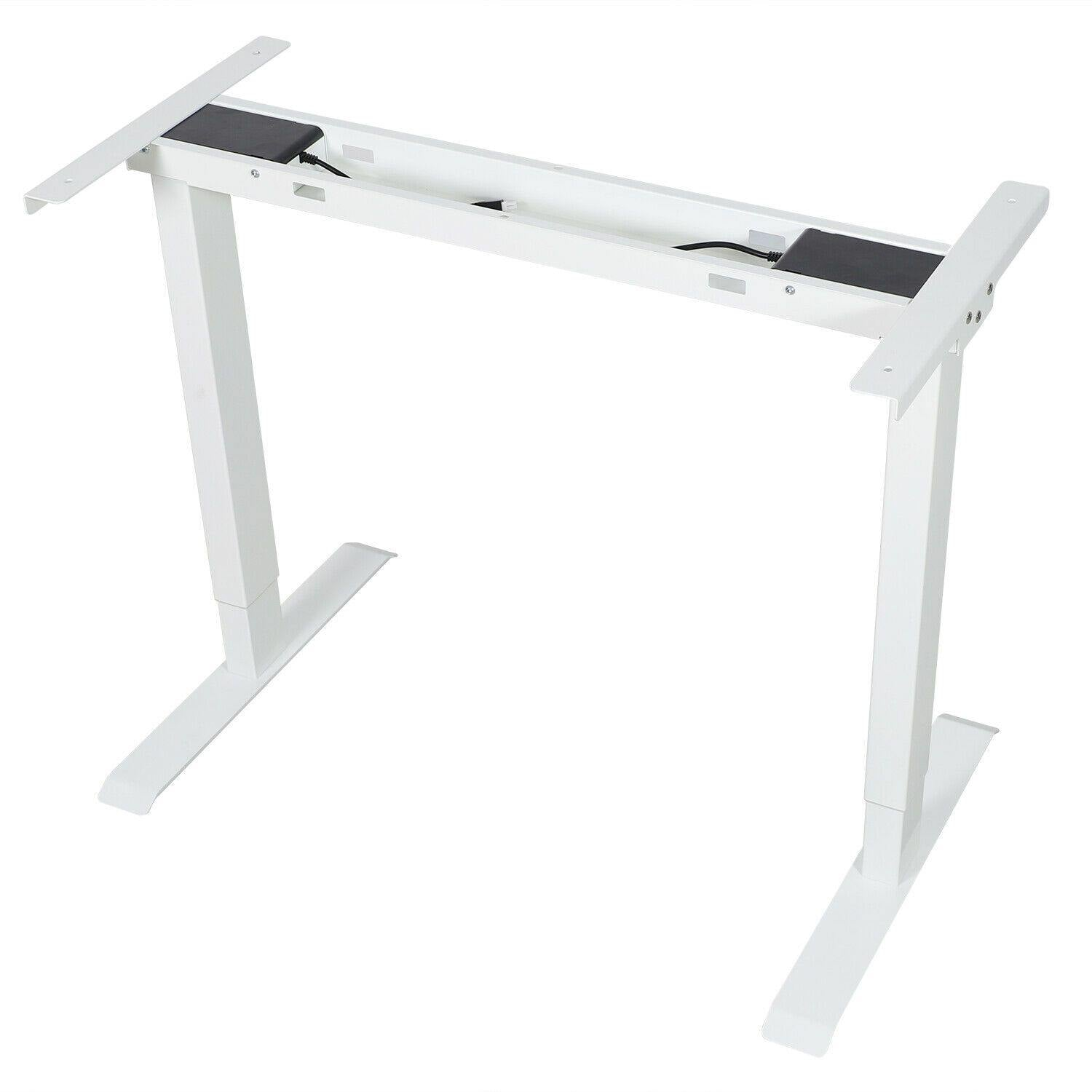 White FlexiDesk Electric Standing Desk Adjustable Height w/ Memory Store Control - Until Times Up