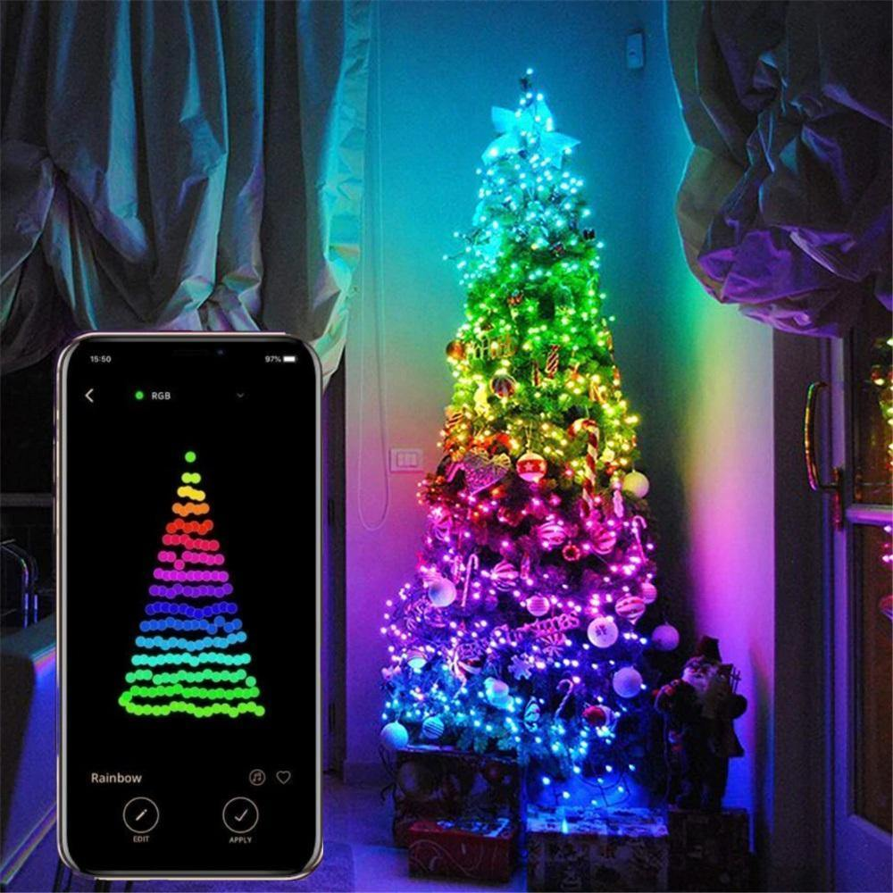 App Controlled Smart LED Christmas Tree Lights With Music Sync Lights and Custom Display - Until Times Up