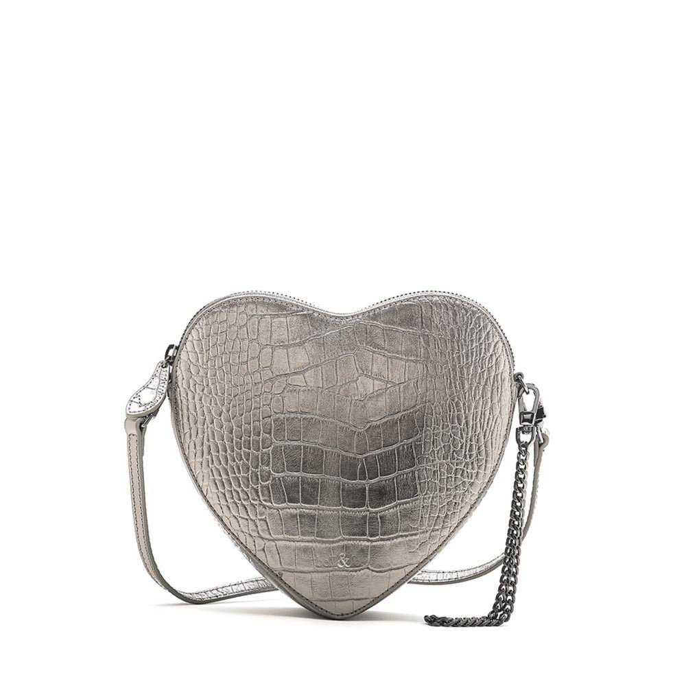 AMOU HEART SHAPE CROSS BODY BAG PEWTER CROC