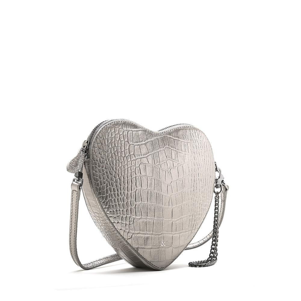 HEART SHAPE CLUTCH METALLIC PEWTER CROC