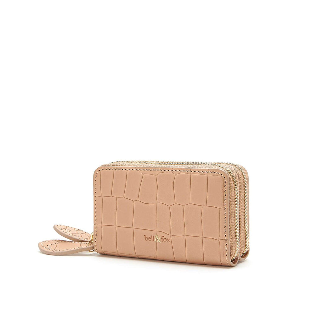 croc embossed camel leather double zip mini purse