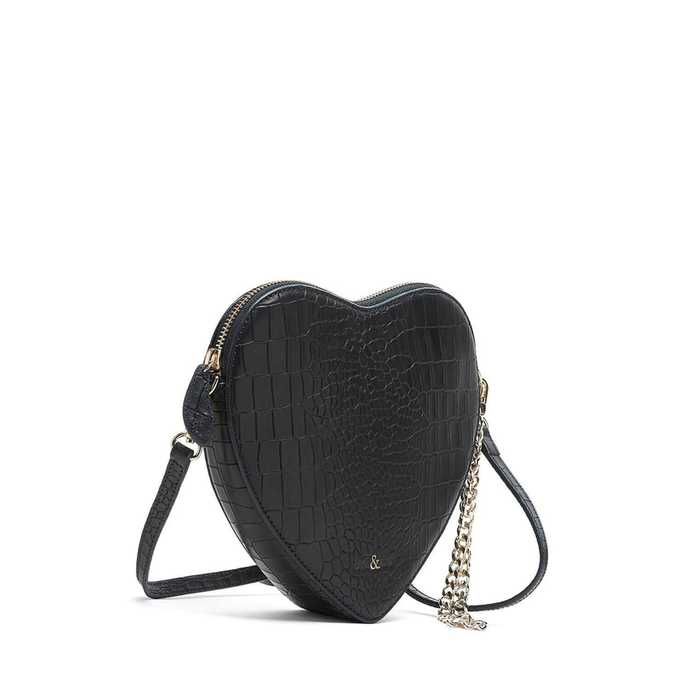 HEART SHAPE WRISTLET CLUTCH BLACK CROC