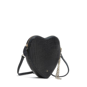 Load image into Gallery viewer, HEART SHAPE WRISTLET CLUTCH BLACK CROC