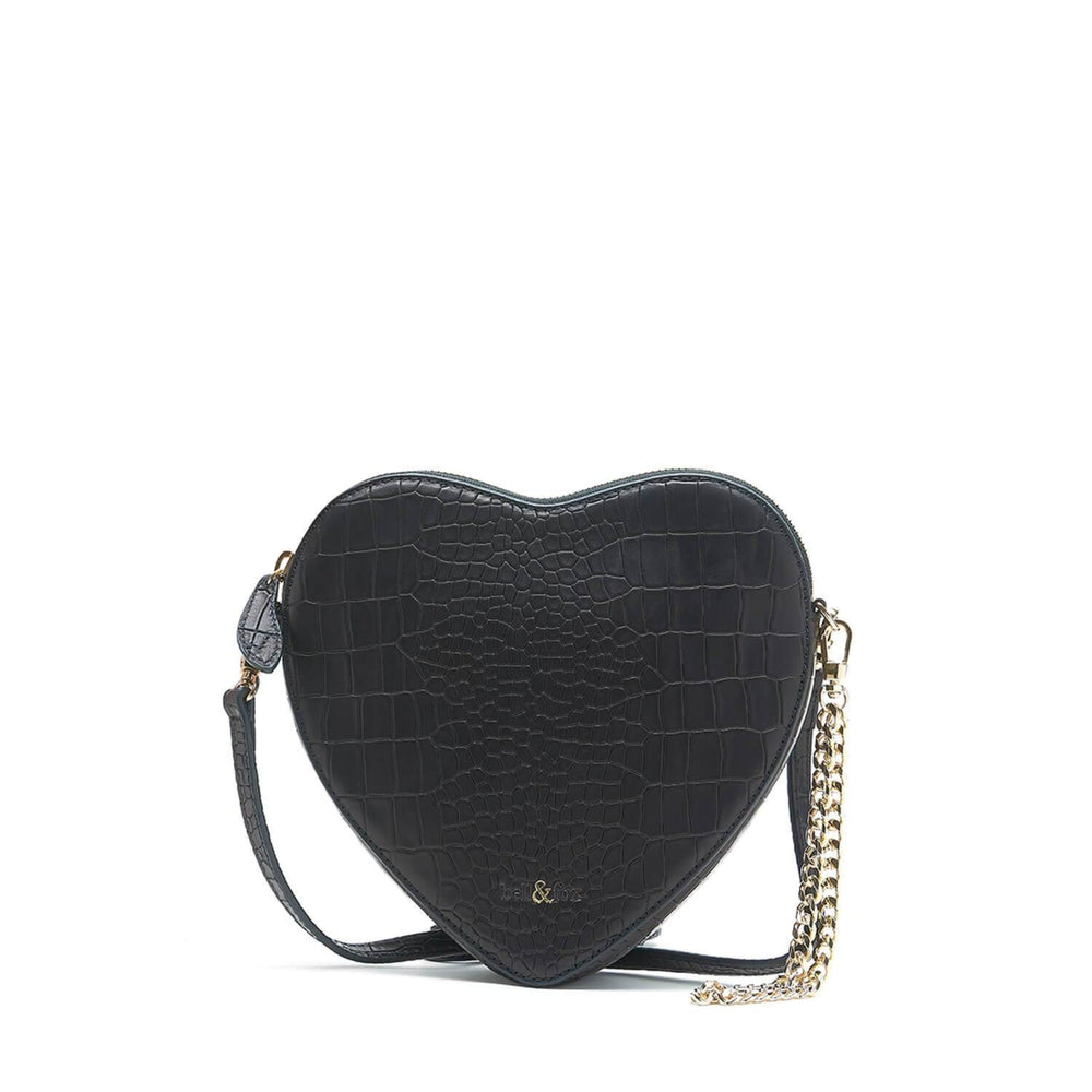 AMOUR HEART SHAPE CROSS BODY BAG BLACK CROC