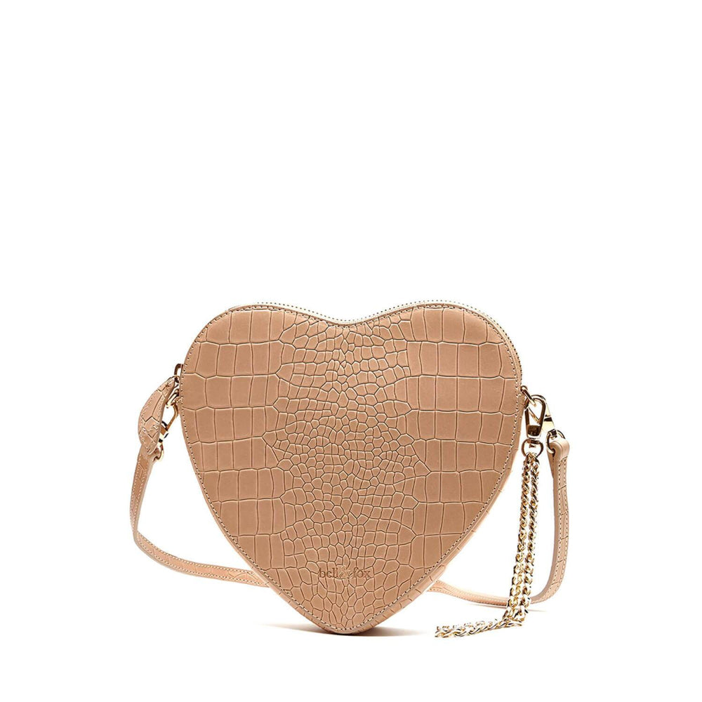 AMOUR HEART SHAPE CROSS BODY BAG CAMEL CROC