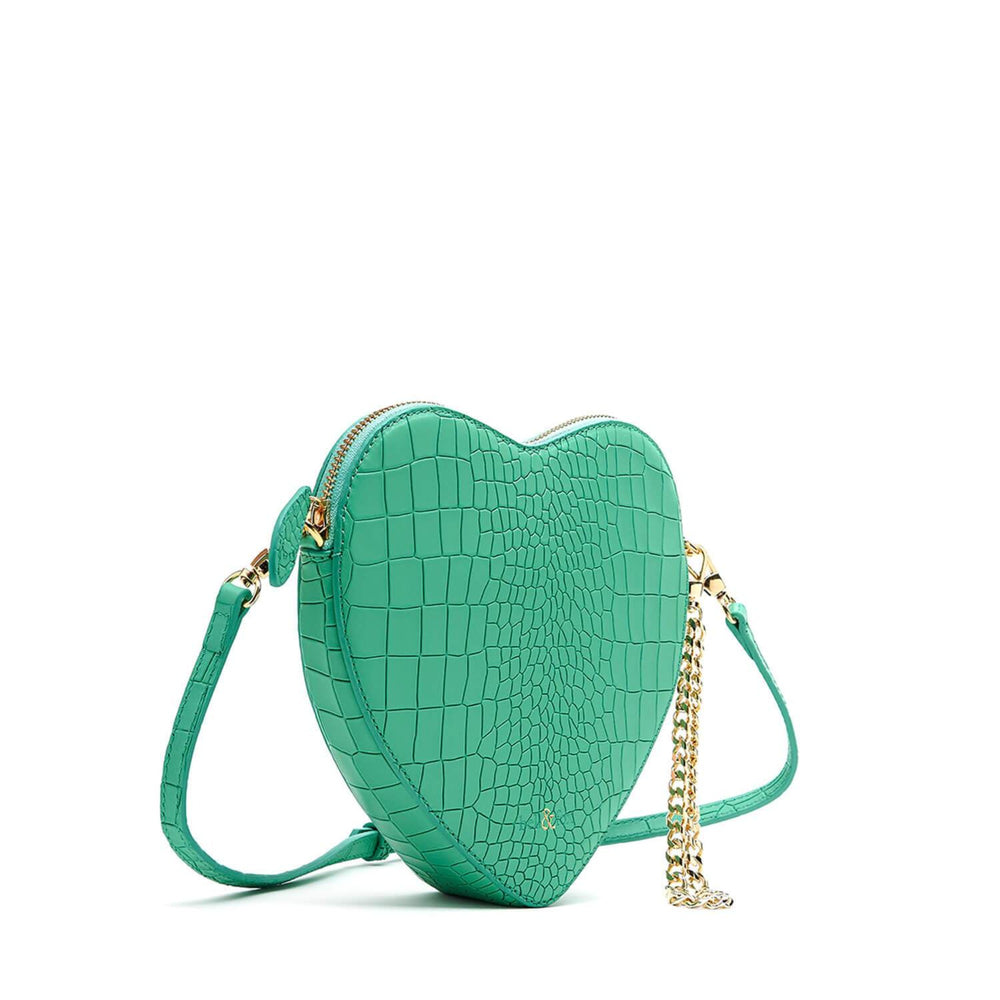 HEART SHAPE WRISTLET CLUTCH MINT CROC