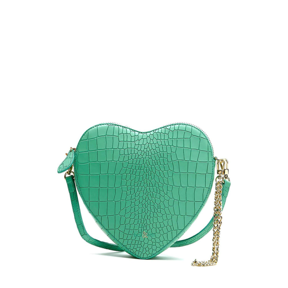 AMOUR HEART SHAPE CROSS BODY BAG MINT CROC