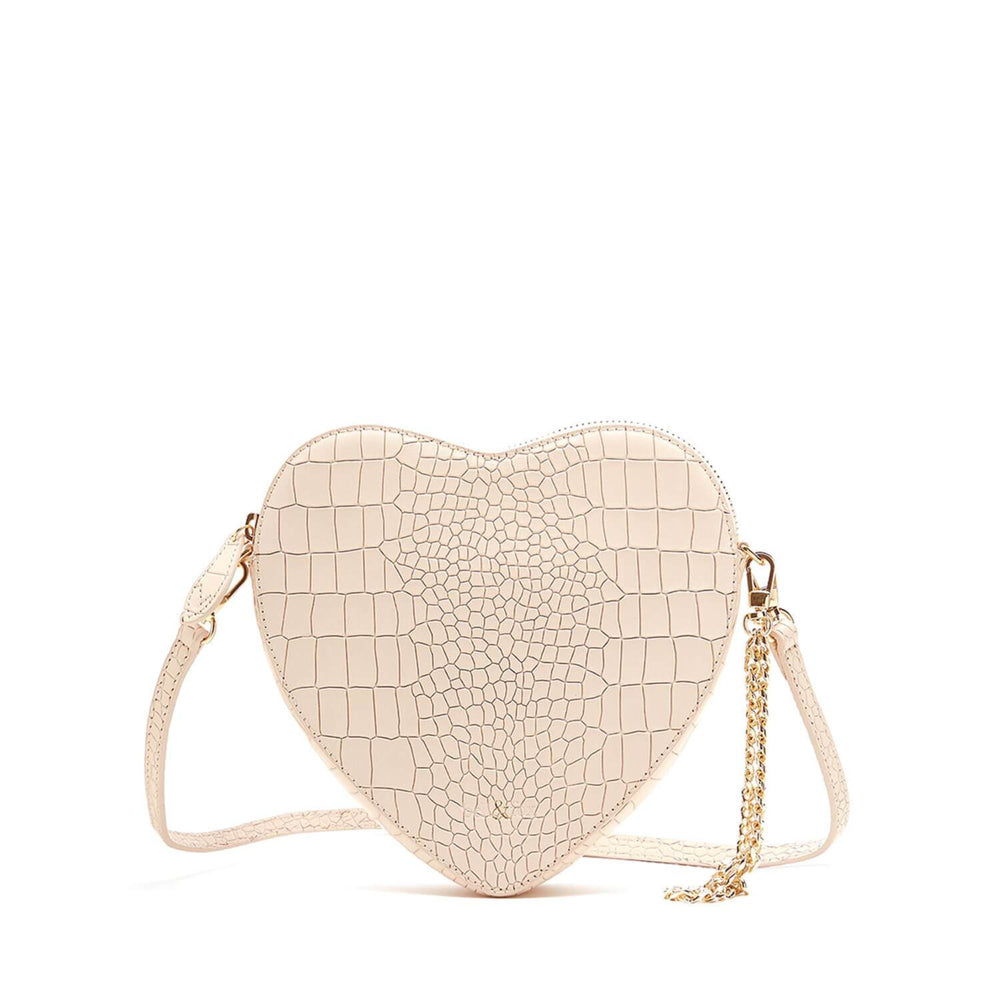 AMPUR HEART SHAPE CROSS BODY BAG POWDER CROC
