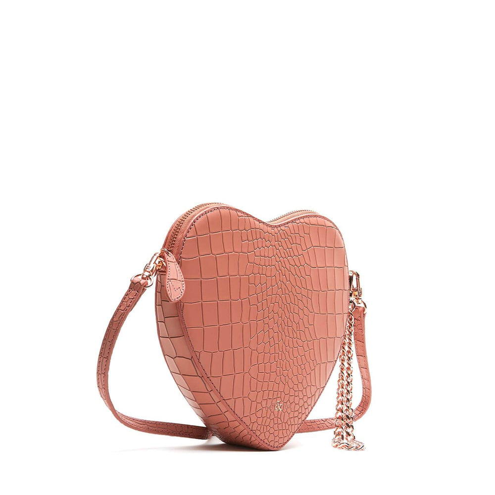 TERRACOTTA CROC HEART SHAPE WRISTLET CLUTCH