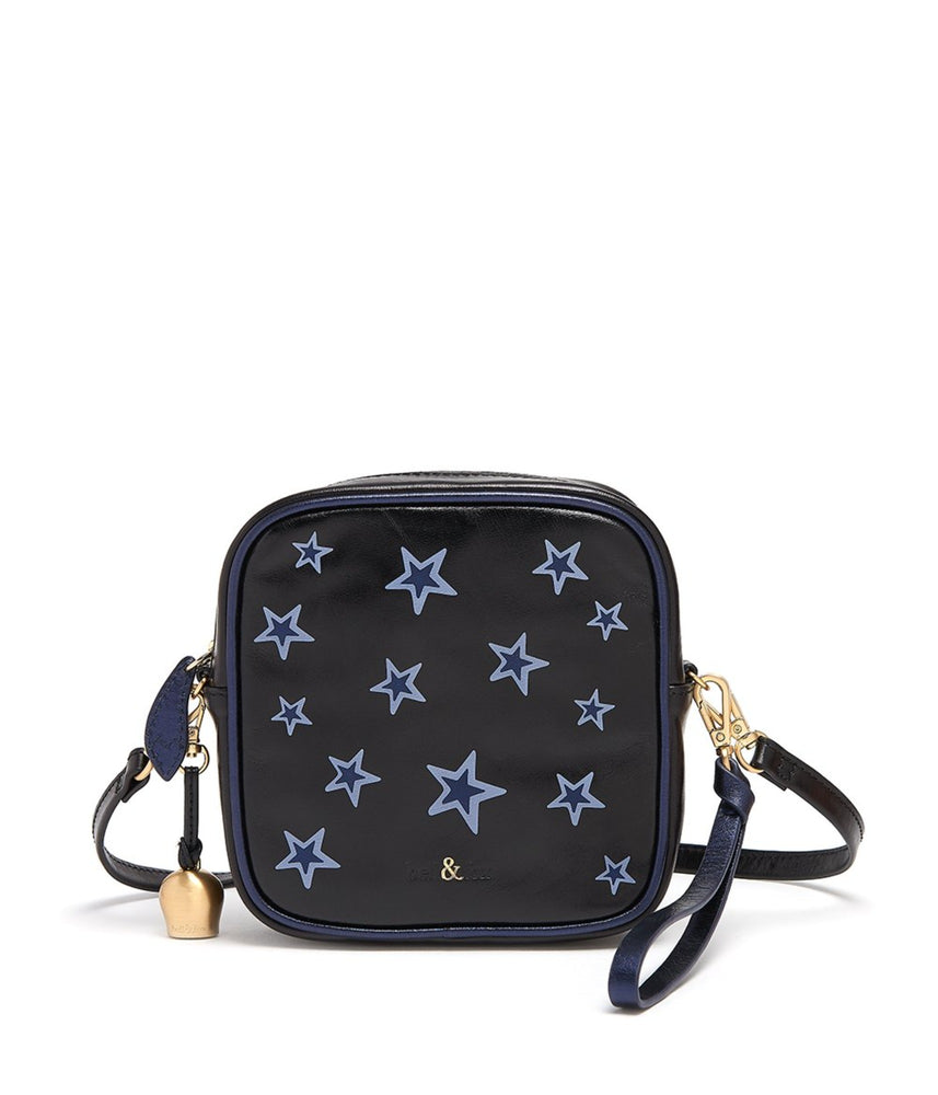 black star printed leather crossbody bag