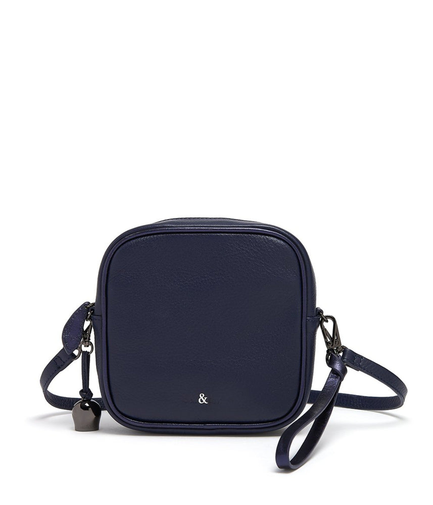 navy leather square mini crossbody bag