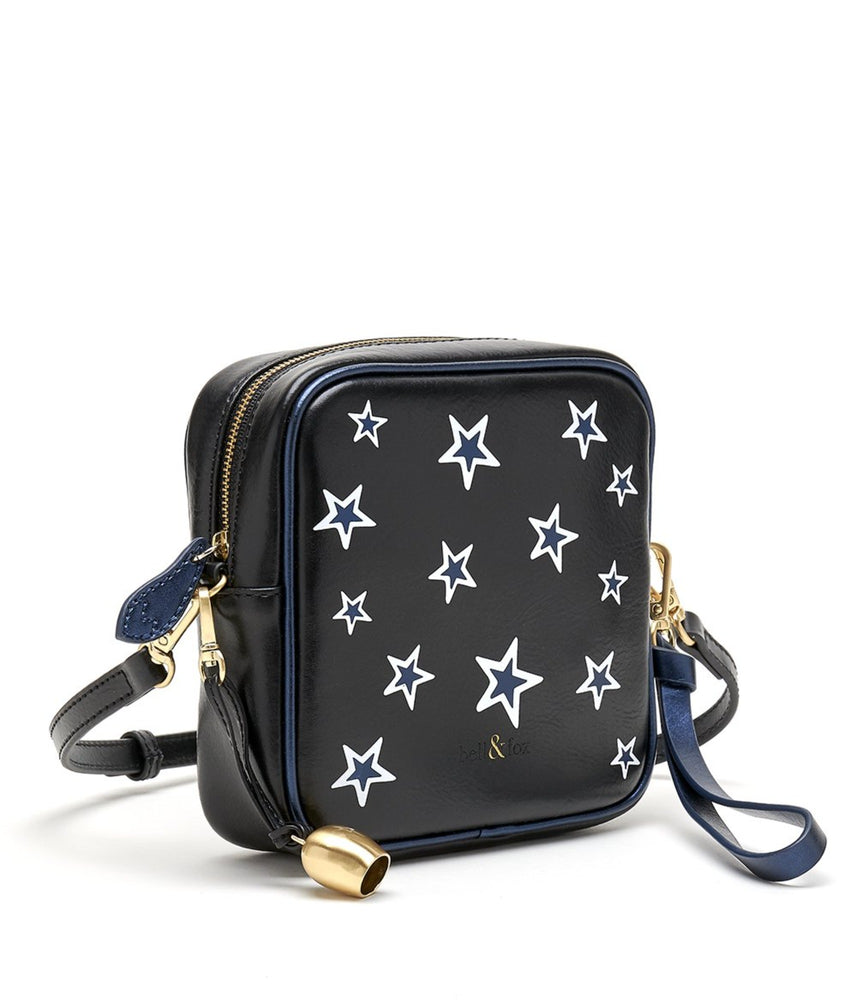 black star printed metallic leather mini crossbody bag