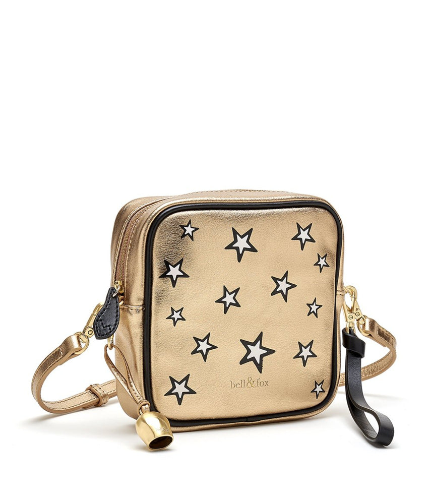 gold metallic leather star printed leather square crossbody bag