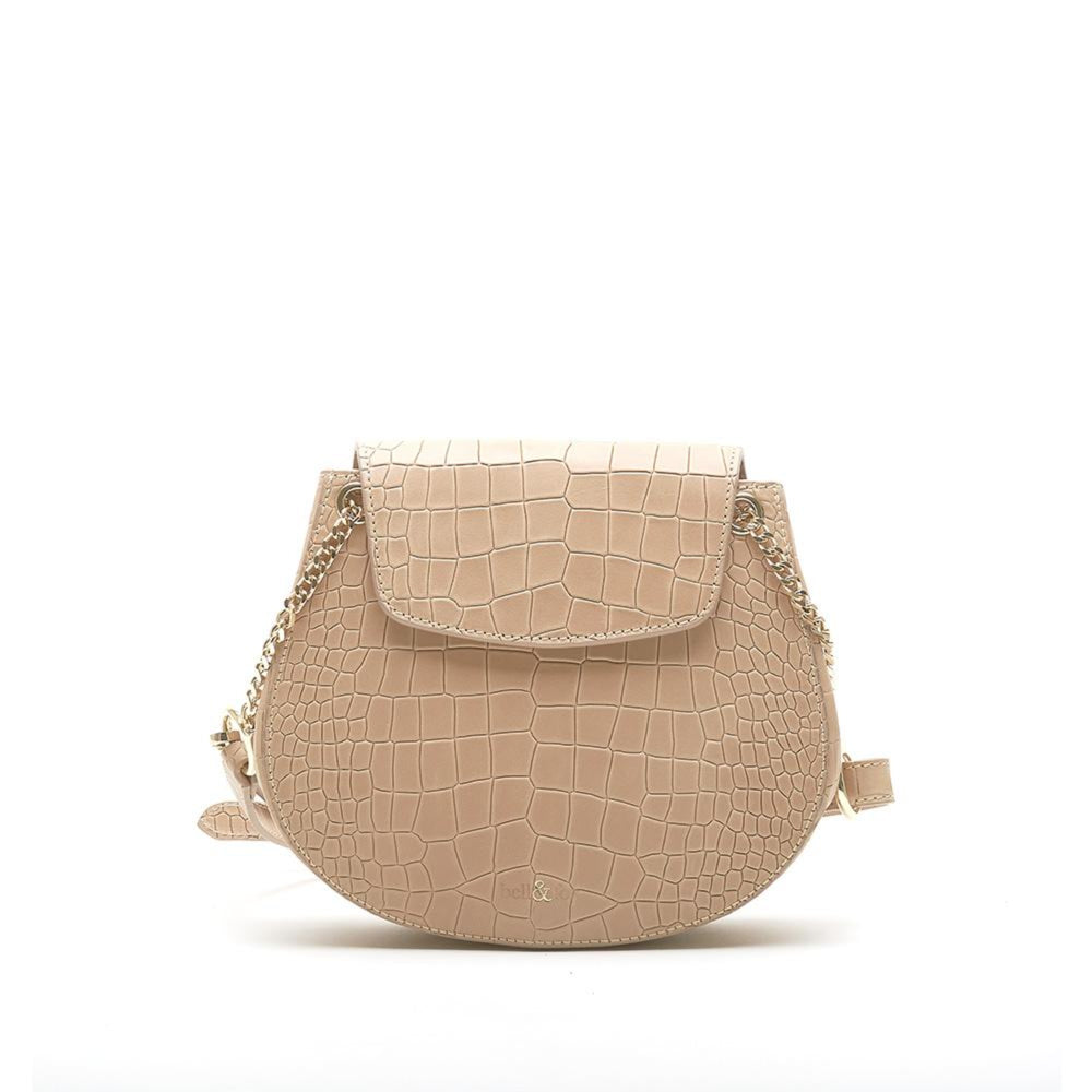 saddle crossbody bag in camel croc leather with gold colour chain detail