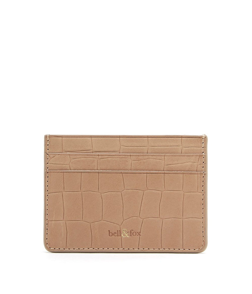 camel croc embossed leather card holder