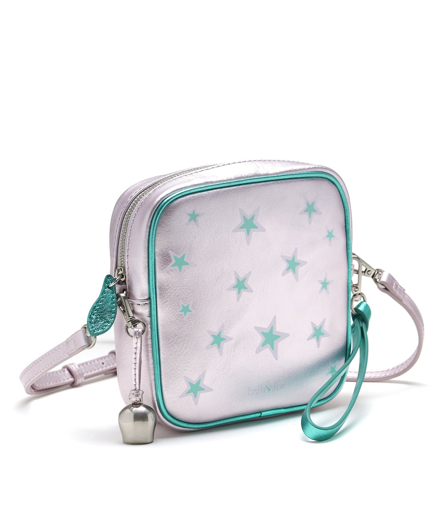lavender lilac metallic leather star printed leather square crossbody bag