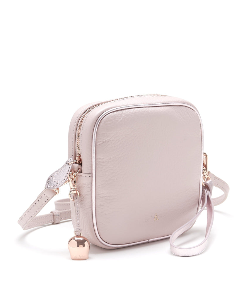 rose pink leather mini crossbody clutch bag