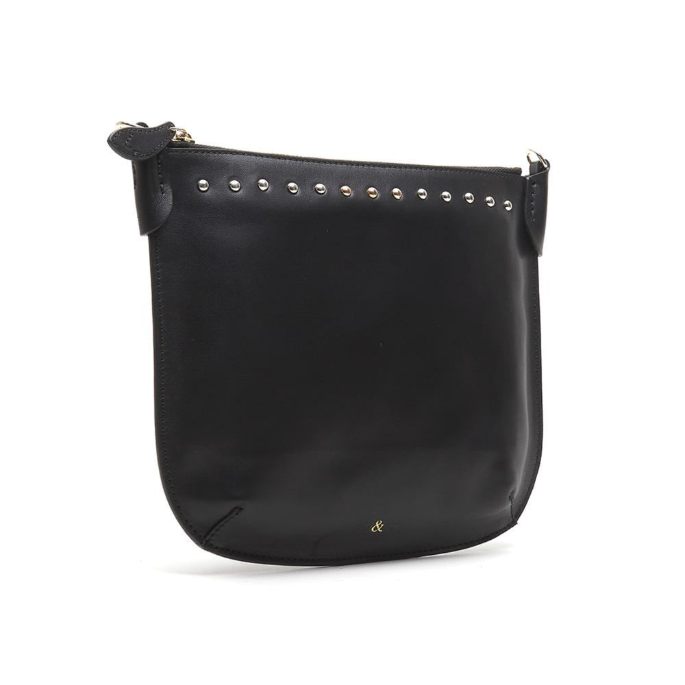 black polished nappa leather crossbody bag with stud detail