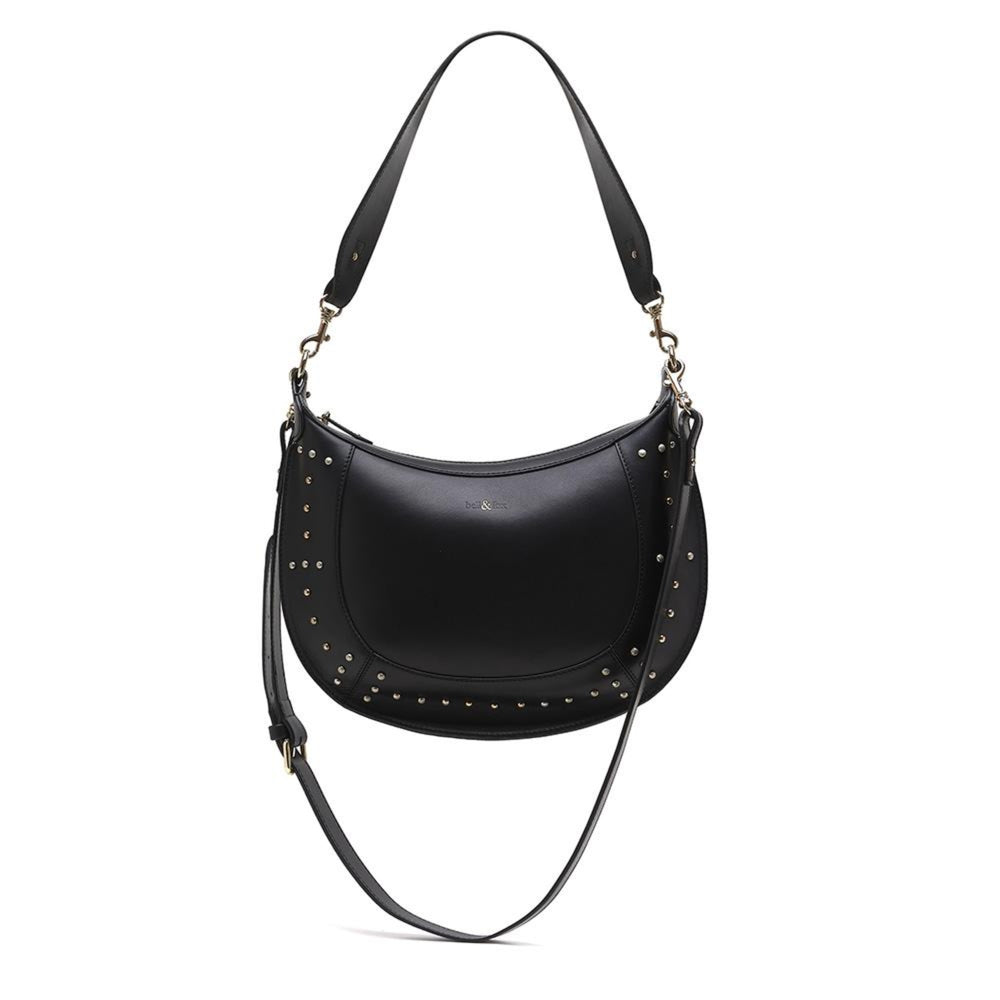 black poilished nappa leather shoulder crossbody bag with studded detail